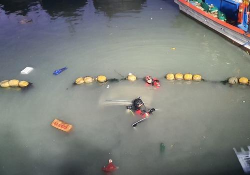해양경찰 잠수요원이 추락한 자동차 안을 수색하기 위해 입수하는 사진.png